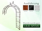 Wandrosenbogen mit Lilie-Spitze 2,40 m Pergola Metallrosenbogen Gartenbogen Rosensäule