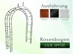 Rosenbogen Pergola Metallrosenbogen Gartenbogen Rosensäule mit Lilie-Spitze 1,40 m