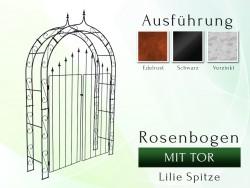 Rosenbogen mit Tür Pergola Metallrosenbogen Gartenbogen Rosensäule Breite 1,40 m  Tor höhe 1,70 Lilie-Spitze