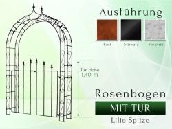 Rosenbogen mit Tür Pergola Metallrosenbogen Gartenbogen Rosensäule Breite 1,40 m Tor Höhe 1,40 m Lilie-Spitze