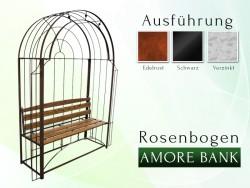 "Rosenbogen Pergola Metallrosenbogen Gartenbogen Rosensäule ""AMORE BANK"" RUND mit Holzbank"