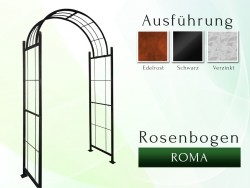 Rosenbogen Pergola Metallrosenbogen Gartenbogen Rosensäule Roma B 1,20 - 1,60 m