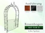 Rosenbogen mit TOR II Pergola Metallrosenbogen Gartenbogen Rosensäule Breite 1,20 m Tor Höhe 1,40 m Lilie-Spitze