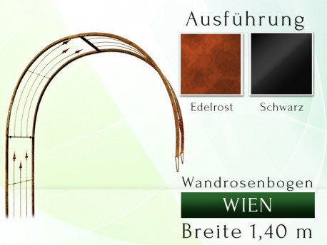 Wandrosenbogen WIEN Massiv Wandrosenbogen für deinen Garten, erhältlich in drei Varianten: Schwarz, Verzinkt oder Rost. Eis...