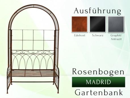 Rosenbogen Gartenbank MADRID Eisen Massiv Rosenbogen für deinen Garten, erhältlich in drei Varianten: Rost, Verzinkt oder S...