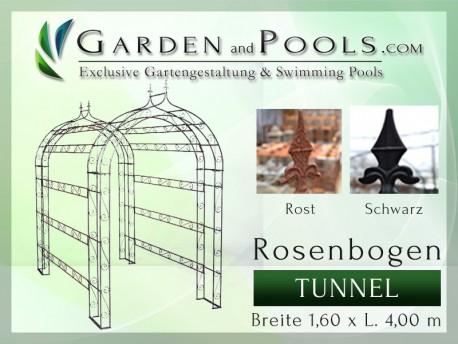 Rosenbogen Tunnel - B 1,60 m x L 4,00 m gartenbogen, rosenaule, rosenbogen eisen, rosenbogen verzinkt, rosenbogen schwarz, r...