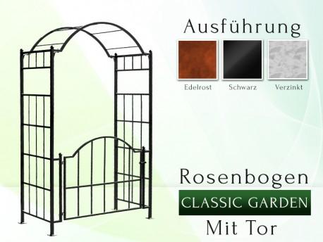 """Rosenbogen """"Classic - Garden"""" mit Tor gartenbogen, rosenaule, rosenbogen eisen, rosenbogen verzinkt, rosenbogen schwarz, ros..."""