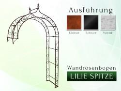 Wandrosenbogen mit Lilie-Spitze 2,20 m Pergola Metallrosenbogen Gartenbogen Rosensäule
