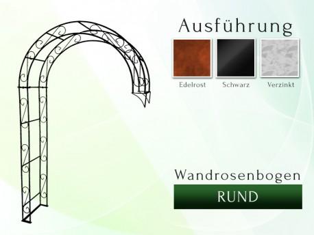 Wandrosenbogen HOLLAND Rund 2,00 m Massiv Wandrosenbogen für deinen Garten, erhältlich in drei Varianten: Schwarz, Verzinkt ...