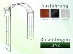 Rosenbogen LINZ gartenbogen, rosenaule, rosenbogen eisen, rosenbogen verzinkt, rosenbogen schwarz, rosenbogen rost, eisen, ...