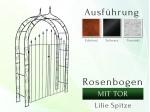 Rosenbogen mit Tür Lilie-Spitze Breite 1,40 m Tor höhe 1,70