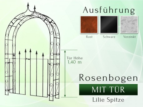 Rosenbogen mit Tür Pergola Metallrosenbogen Gartenbogen Rosensäule Breite 1,40 m Tor Höhe 1,40 mLilie-Spitze