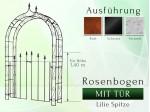 Rosenbogen HOLLAND Lilie-Spitze mit Tür 1,40 m Tor Höhe 1,40 m