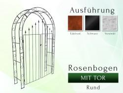 Rosenbogen HOLLAND Rund mit Tür B 1,40 m Tor höhe 1,70 m Eisen Massiv Rosenbogen für deinen Garten, erhältlich in drei Var...