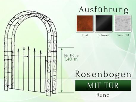 Rosenbogen mit Tür Pergola Metallrosenbogen Gartenbogen Rosensäule Breite 1,40 m Tor höhe 1,40 m Rund gartenbogen, rosenaule...
