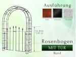 Rosenbogen mit Tür Pergola Metallrosenbogen Gartenbogen Rosensäule Breite 1,40 m Tor höhe 1,40 m Rund