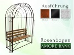 "Rosenbogen Pergola Metallrosenbogen Gartenbogen Rosensäule AMORE BANK"" RUND mit Holzbank"""