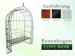 Rosenbogen LOVE BANK mit Lilie-Spitze Eisen Massiv Rosenbogen für deinen Garten, erhältlich in drei Varianten: Rost, Verzin...