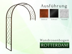 Wandrosenbogen ROTTERDAM Massiv Wandrosenbogen für deinen Garten, erhältlich in drei Varianten: Schwarz, Verzinkt oder Rost....