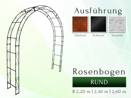 Rosenbogen HOLLAND Rund B 2,40 m Eisen Massiv Rosenbogen für deinen Garten, erhältlich in drei Varianten: Rost, Verzinkt od...