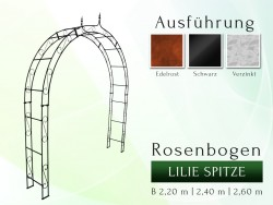 Rosenbogen Pergola Metallrosenbogen Gartenbogen Rosensäule mit Lilie-Spitze 2,20 m