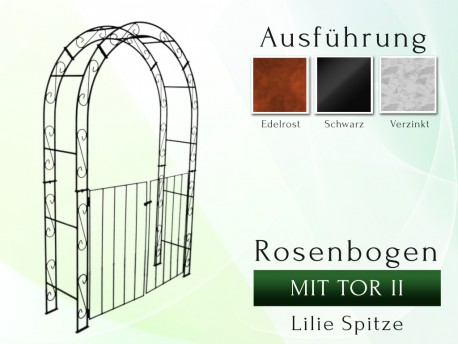 Rosenbogen HOLLAND Rund mit Tor II B 1,40 m Tor höhe 1,40 m Eisen Massiv Rosenbogen für deinen Garten, erhältlich in drei ...