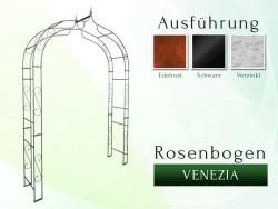 Rosenbogen VENEZIA mit Spitze 2,00 m Eisen Massiv Rosenbogen für deinen Garten, erhältlich in drei Varianten: Rost, Verzink...