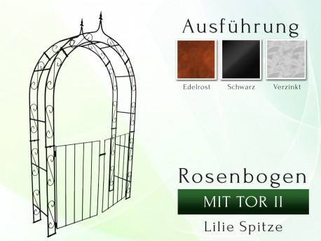 Rosenbogen HOLLAND Lilie-Spitze mit TOR II Breite 1,20 m Tor Höhe 1,10 m Eisen Massiv Rosenbogen für deinen Garten, erhält...