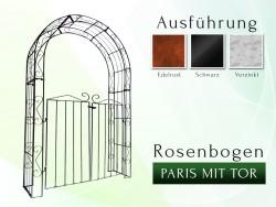 Rosenbogen PARIS mit Tür B 1,40 m Rund Eisen Massiv Rosenbogen für deinen Garten, erhältlich in drei Varianten: Rost, Verz...