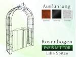 Rosenbogen Paris mit Tür B 1,20 m Lilie Spitze Pergola Metallrosenbogen Gartenbogen Rosensäule