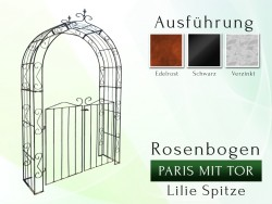 Rosenbogen Paris mit Tür B 1,40 m Lilie Spitze Eisen Massiv Rosenbogen für deinen Garten, erhältlich in drei Varianten: Ro...