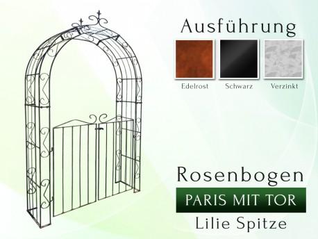Rosenbogen Paris mit Tür B 1,40 m Lilie Spitze gartenbogen, rosenaule, rosenbogen eisen, rosenbogen verzinkt, rosenbogen sc...