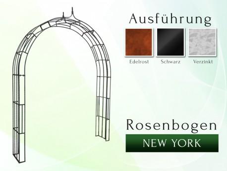 Rosenbogen New York B 1,60 m Eisen Massiv Rosenbogen für deinen Garten, erhältlich in drei Varianten: Rost, Verzinkt oder S...