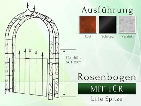 Rosenbogen HOLLAND Lilie-Spitze mit Tür Pergola B 1,20 m - Tor höhe 1,20 m Eisen Massiv Rosenbogen für deinen Garten, erhä...