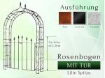 Rosenbogen HOLLAND Lilie-Spitze mit Tür Pergola B 1,20 m - Tor höhe 1,20 m