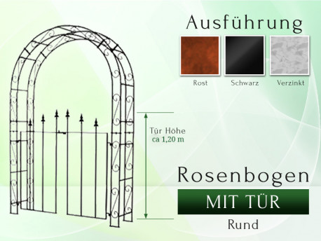 Rosenbogen HOLLAND Rund mit Tür Lilie Breite 1,20 m - Tor höhe 1,20 m Eisen Massiv Rosenbogen für deinen Garten, erhältlic...