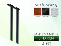 Bodenanker / Anker L-Haken 2 St. für Rosenbogen 1,20 - 2,00
