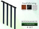 Anker / Haken Dübel Set 4 St. für Rosenbogen 1,20 - 2,00 gartenbogen, rosenaule, rosenbogen eisen, rosenbogen verzinkt, rose...
